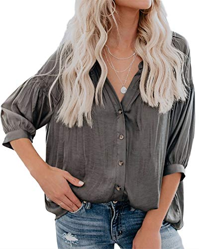Inorin Womens V Neck 3/4 Sleeve Shirts Puff Button Up High Low Tops Casual Loose Blouses Light Gray