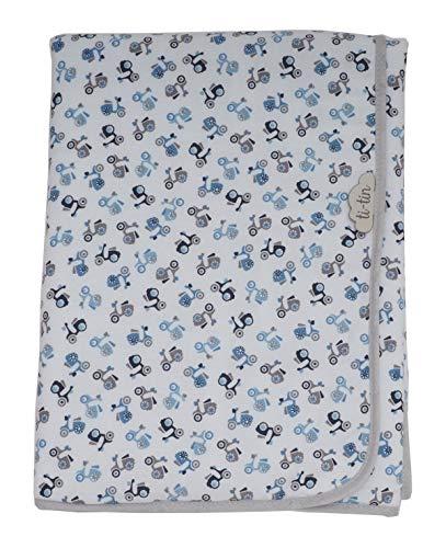 Ti TIN - weiche, saugfähige Babydecke, 80x80 cm | Baby- Schlafsack oder Krabbeldecke aus 100% Baumwolle-Frottee mit doppellagigen Stoff, Babydecke fürs Auto, Kinderwagen, etc, Motiv: Motorrad, blau