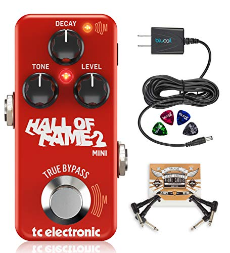 TC Electronic Hall of Fame 2 Mini Reverb Guitar Effects Pedal with True Bypass Bundle with Blucoil Slim 9V Power Supply AC Adapter, 2-Pack of Pedal Patch Cables, and 4-Pack of Celluloid Guitar Picks