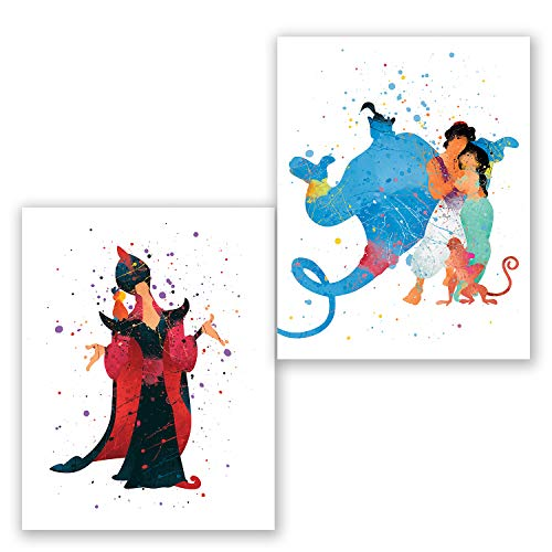 Aladdin Wall Art Posters – Set of 2 Prints – Aladdin Princess Jasmine Genie Jafar Decor – Kids Room – Party Supplies Decoration – Nursery Watercolor Artwork – Birthday (8x10)