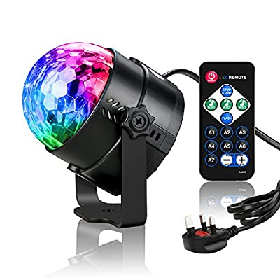 Disco Party Lights,Komake DJ Disco Lights Rotating Ball Lights Stage Lights with Remote Control,7 Colors RGB LED Night Light,Sound Activated,for Home,Party,KTV,Bar,Stage,Wedding Celebration