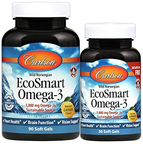 Carlson Labs EcoSmart Omega-3 Natural Lemon Softgels, 90-Count