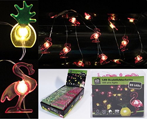2X LED Lichterkette je 20 LEDs Flamingo und Ananas
