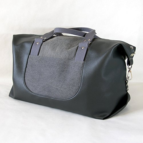 Wanderlust Faux Leather Weekender Bag, Duffel Bag, Travel Bag in Slate Gray​