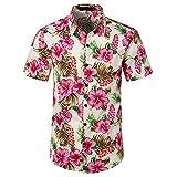 Camisa Hawaiana Hombre,Camisa Hawaiana Informal De Manga Corta Con Botones, Estampado De Flores Tropicales, De Secado Rápido, Transpirable, Estilo Vintage, Aloha Para Hombre, Mujer, Vacaciones En L