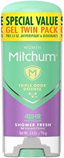 Mitchum Antiperspirant Deodorant Stick for Women, Triple Odor Defense Gel, 48 Hr Protection, Shower Fresh, 3.4 oz (pack of 2)