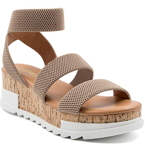 Athlefit Women's Wedge Sandals Platform Sandals Cork Elastic Strap Sandals Size 7.5 Khaki