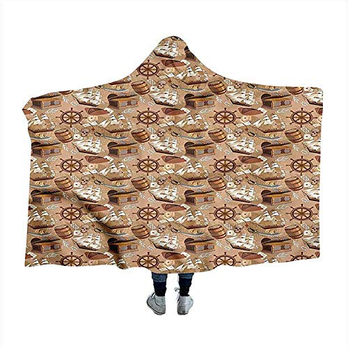 Pirates Wearable Blanket oude kaart Adventure Cloak Blanket voor Sleep Nap 50