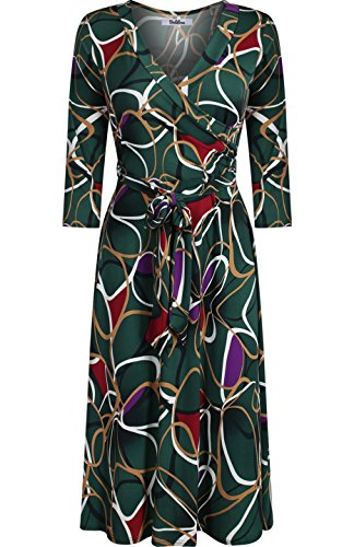 BodiLove Women's 3/4 Sleeve V-Neck Geo Printed Knee Length Wrap Dress Hunter Green L(DJ2876-CLP)