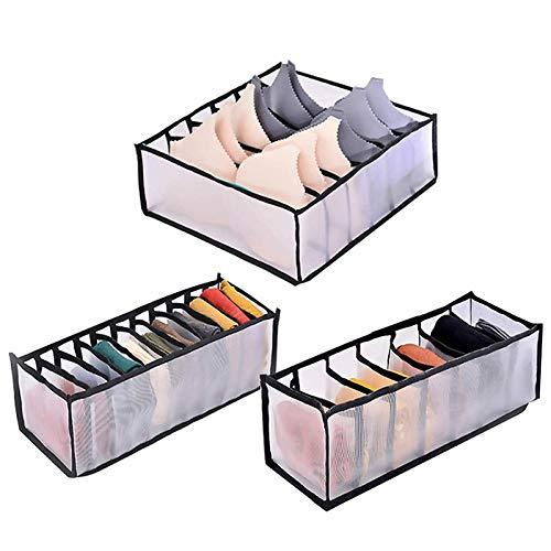 Meltset M Underwear Storage Box Compartment, Foldable Closet Wardrobe Clothes Organizer Drawer Divider, Houseware Storage Cabinet for Socks Neckties, Scarves, Bras, Handkerchiefs, 6+7+11Grid Black