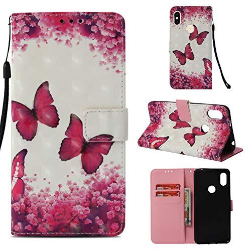 Funluna Xiaomi Redmi S2 Hülle, Flip Handy Stoßfest Lederhülle Brieftasche, Trageschlaufe, Kartenfächer, Magnetverschluss Handytasche für Xiaomi Redmi S2 - Rosen-Schmetterling
