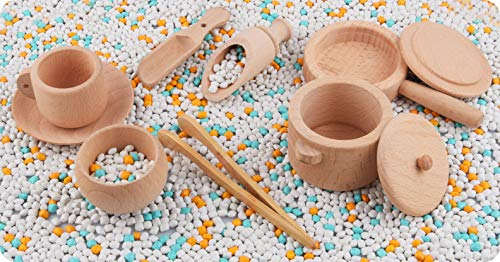 Warckon Sensory Bin Tools, Montessori Toys for Toddlers,Set of 8 Wooden Waldorf Toys Includes Wooden Scoops, Wooden Dish for Transfer Work and Fine Motor Skills Development for Kids