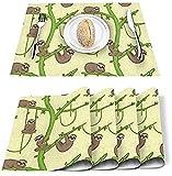 Set di 4 tovagliette cartone animato divertente albero di bradipo poliestere resistente alle macchie tovagliette lavabili decorazione tovaglietta per casa, cucina, ufficio giallo verde