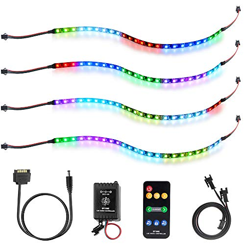 ALITOVE Addressable RGB LED Strip Music Sync for PC Computer Case DIY, 4X 16in Dream Color Digital WS2811 LED Light Strip with Music Controller, Molex SATA Power Cable, 25 Static & Dynamic Color Mode