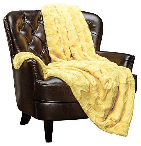 """Chanasya Fur Throw Blanket for Bed Couch Chair Daybed - Soft Wave Embossed Pattern - Warm Elegant Cozy Fuzzy Fluffy Faux Fur Plush Suitable for Fall Winter Summer Spring (50"""" x 65"""") - Yellow Blanket"""