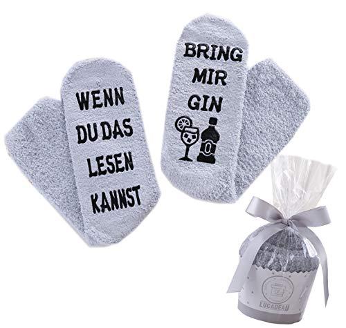Lucadeau Gin Socken, Geschenke für Frauen - WENN DU DAS LESEN KANNST, BRING MIR GIN, Geburtstagsgeschenke für Frauen, Weihnachtsgeschenke für Freundin Schwester Mama (Gin-Grau)