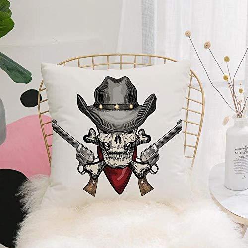 Purer Weicher Kissenbezug Kissenhülle Set,Schädel, Illustration eines coolen Schädel-Cowboys mit Hut u,Sofakissen Lendenkissen Wurfkissenbezug mit Verstecktem Reißverschluss Schlafzimmer Auto 45x45cm