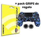 actecom® Funda Carcasa + Grip Silicona Camuflaje Azul Mando Sony PS4 Playstation 4