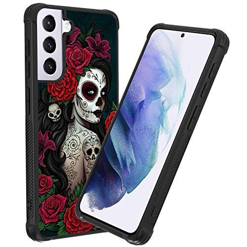 Samsung Galaxy S21 Case, Black Reinforced Corners Shockproof Bumper Galaxy S21 (6.2') Case Sugar Skull Girl Protective Case