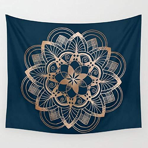 AdoDecor Mandala de Metal en Tapiz de Pared Azul Cubierta Toalla de Playa Manta de Picnic Estera de Yoga Decoración del hogar 152x102cm