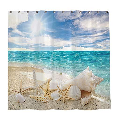Allenjoy 72x72 inch Tropical Seaside Beach Shower Curtain Set with 12 Hooks Summer Hawaii Sea Seashells Starfish Bathroom Curtain Durable Waterproof Fabric Bathtub Sets Home Decor