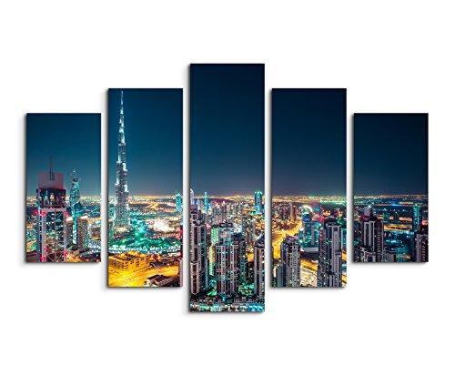 Wandbild 5 teilig Breite 150cm x Höhe 100cm Architekturfotografie – Dubai Skyline bei Nacht, UAE auf Leinwand für Wohnzimmer, Büro, Schlafzimmer, Ferienwohnung u.v.m. Gestochen scharf in Top Qualität
