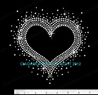 Heart Shape Clear Rhinestone Iron on Hotfix Decal Transfer Heart Bling - 7