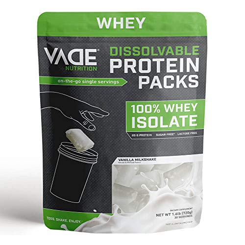 Vade Nutrition Dissolvable Protein Packs | Vanilla Whey Isolate Protein Powder, On-The-Go, Low Carb, Low Calorie, Lactose Free, Gluten Free, Fat Free, Sugar Free, Lean, Great Tasting, 30 Servings