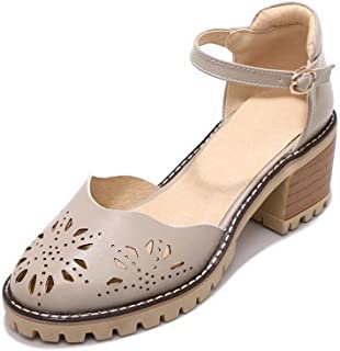 BalaMasa Womens ASL06312 Pu Block Heels