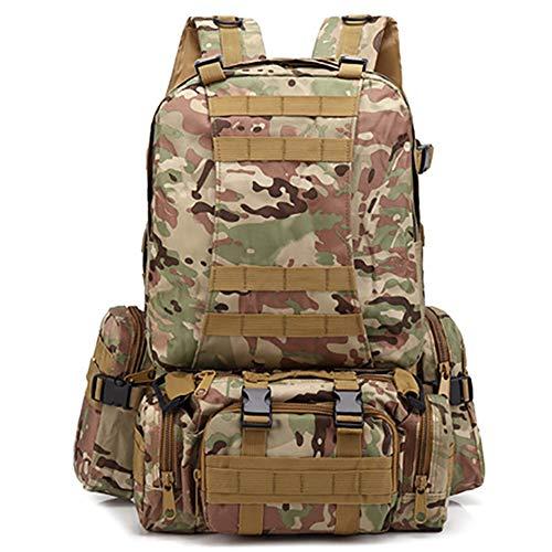MatSailer - Mochila táctica militar para exteriores, paquete de asalto de 3 días, mochila Molle militar de 50 litros para camping, caza, supervivencia, senderismo, pesca y viajes, 7