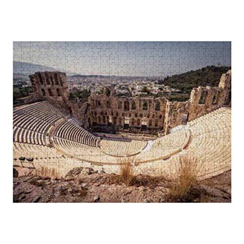 Rompecabezas de 500 piezas para adultos Panorama Odeon Herodes Atticus Acrópolis Rompecabezas de madera (50 * 35cm)