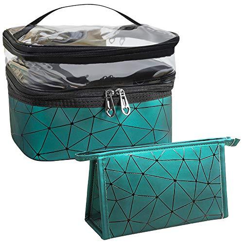 Bolsas de maquillaje de doble capa para viajes, cosméticos, organizador de maquillaje