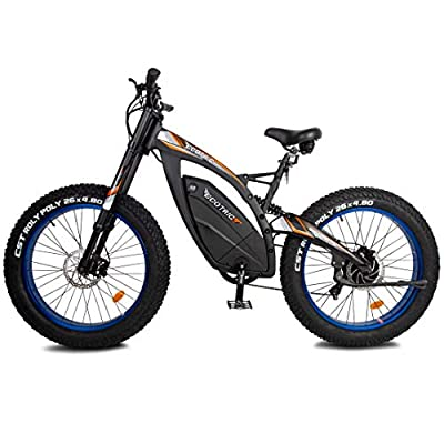 ECOTRIC Powerful Electric Bike 1000W Motor 17.6AH/48VBattery Fat Tire W/Aluminum Suspension Frame Mountain Bike Beach Snow Ebike Bicycle Moped Throttle & Pedal Assist