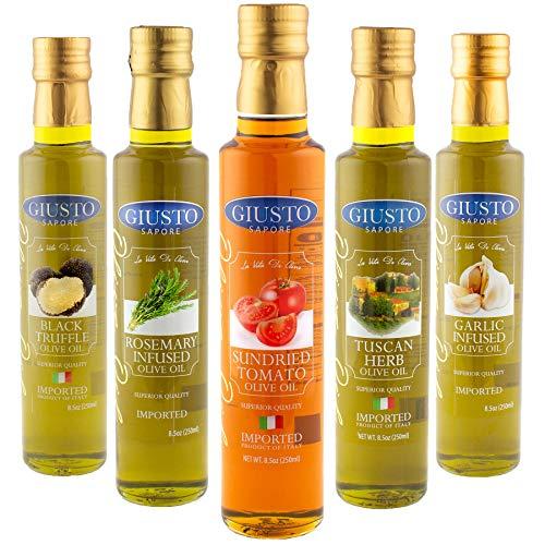 Giusto Sapore Infused Olive Oil Gift Set - Sundried Tomato, Rosemary, Black Truffle, Tuscan Herb, Garlic - 5 Pack Gift Box