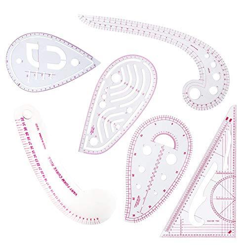 Bekleidungslineal, 6 Stück, französisches, metrisches Lineal, Kunststoff, gewölbt, Staffelungslineal, zum Nähen, Schneidern, für Muster, Zeichnung, als Schablone, Mehrzweck-Schneidelineal