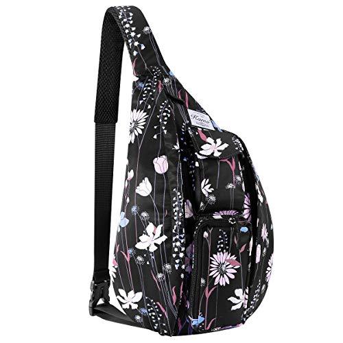 KAMO Sling Backpack - Travel Rope Bag Crossbody Pack for Women Men Teens - Waterproof Outdoor Shoulder Backpack for Trekking Bicycle Sport Hiking Camping