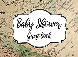 Baby Shower Guest Book: World Map Adventure Travel Themed Baby Shower Guest Book - Includes Space for a Special Note!