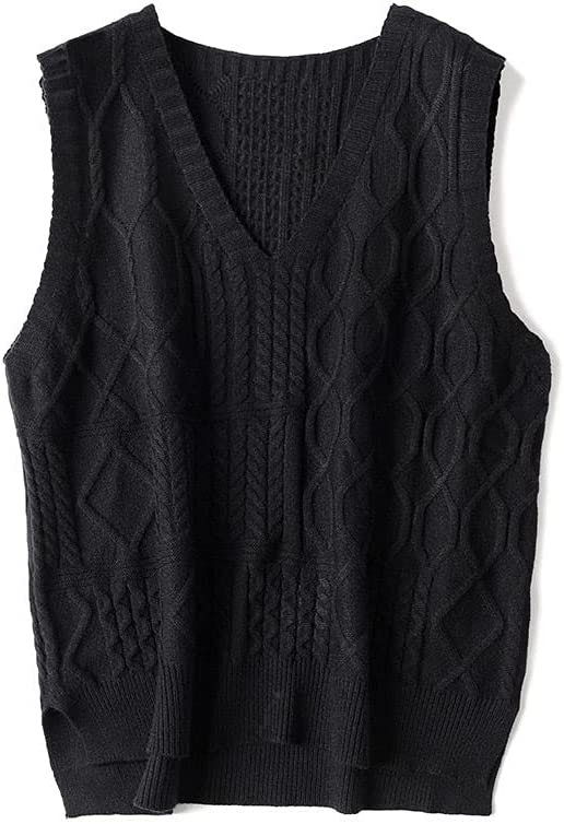 Sweater Vest,Womens Sleeveless Sweater Vest Leisure Fashion Solid Color V Neck Cable Knit Split Fork Knitted Cami Sweater Pullovers Knitted Sweater Vest Uniform for Autumn Winter,Black