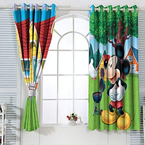 Cortinas de eficiencia energética Mic-key Min-nie Mouse para habitaciones de niños, cortina impermeable para ventana, 55 x 45 pulgadas