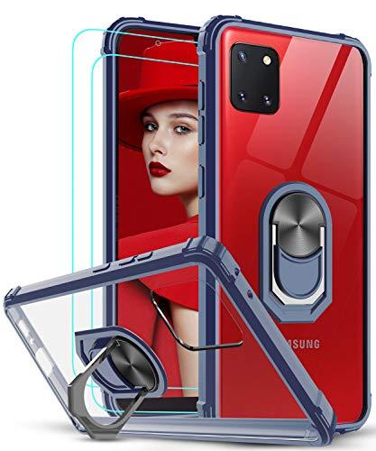 LeYi Funda Samsung Galaxy Note 10 Lite / A81 con [2-Unidades] Cristal Vidrio Templado,Transparente Carcasa con 360 Grados iman Soporte Silicona Bumper Antigolpes Armor Case para Movil A81,Clear Azul