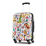American Tourister Nickelodeon Hardside Luggage with Spinner Wheels, White/Orange, Carry-On 21-Inch