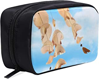 Seashore Shell Wind Bells In Summer Portable Travel Makeup Cosmetic Bags Organizer Multifunction Case Small Toiletry Bags For Women And Men Brushes Case