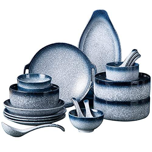 ZJZ Juegos de vajilla de cerámica, 48 Piezas de Cuenco de Cereal de Esmalte Azul y Plato de Carne Juego de vajilla de Porcelana de Estilo japonés para reuniones Familiares