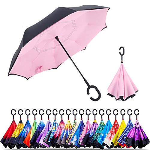 Original Deals Inverted Inside Out Umbrella | Double Layer Inverted UV Protection Unique Windproof Umbrella | Reverse Open Folding Umbrellas with C Hook for hanging on points (Pink)