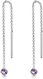 DTPsilver® Piccoli Orecchini Pendenti con Catena in Argento 925 con 3 mm Cristalli Swarovski® Elements - Lunghezza 57 mm -...