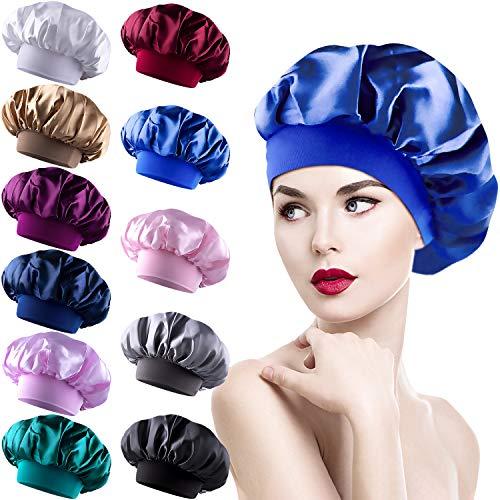 Duufin 11 Pièces Bonnet Satin Cheveux Nuit, Bonnets de Nuit en Satin, Bonnet en Satin Chapeau, Chapeaux de Sommeil de Nuit pour Femme, 11 Couleurs
