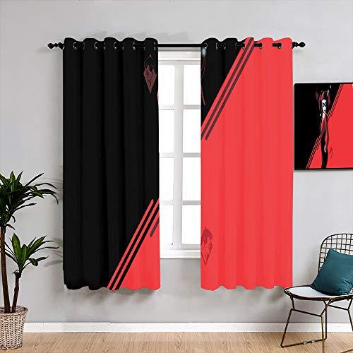 Harley Quinn - Cortinas lavables, 42 x 72 cm, para sala de estar, impermeable, para habitación de niños y niñas