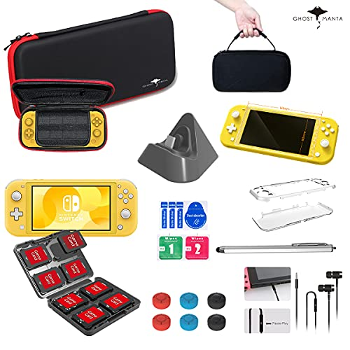 12 in 1 Accessories Kit Compatible with Nintendo Switch Lite Console, Bundle with Mini Charging Base, Earphone, Crystal Case, Carry Bag, Tempered Glass, Game Card Storage, Stylus, 6 Thumb Grips