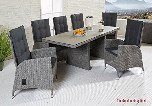 Wholesaler GmbH LC Garden Sitzgruppe Gartenset Modesto Dining Set I grau 6X Gartenstühle u. Tisch Polyrattan Spraystone