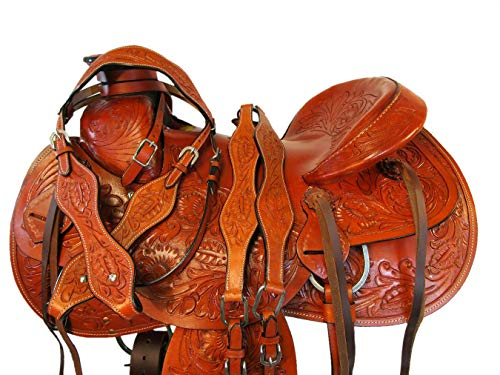 Floral Hand Tooled Leather Roping Roper Wade Tree Horse Saddle 15 16 17 TACK Set (17 Inch)
